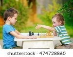 chess dispute. two boys playing ... | Shutterstock . vector #474728860