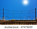 fence with barbed wire on a... | Shutterstock . vector #47473039