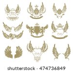 set of gold tattoo symbols ... | Shutterstock .eps vector #474736849