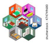 flat 3d isometric house... | Shutterstock .eps vector #474749680