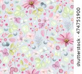 Rustic Floral Pattern With...