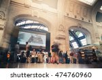busy people at the railway... | Shutterstock . vector #474760960