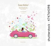 invitation card with pretty... | Shutterstock .eps vector #474764398