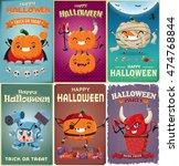 vintage halloween poster design ... | Shutterstock .eps vector #474768844