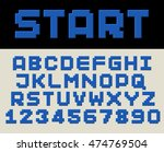 3d extruded blue font with... | Shutterstock .eps vector #474769504