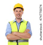 Small photo of Construction worker, isolated on white