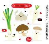 vegetable cartoon cute set... | Shutterstock .eps vector #474798853