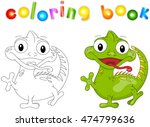 cartoon iguana coloring book... | Shutterstock . vector #474799636