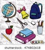 cute set with sketch school... | Shutterstock .eps vector #474802618