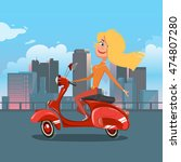 girl riding scooter. cartoon... | Shutterstock . vector #474807280