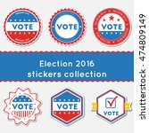 election 2016 stickers...   Shutterstock .eps vector #474809149