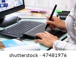 female graphic designer working ... | Shutterstock . vector #47481976