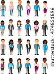 set of vector  african american ... | Shutterstock .eps vector #474821896