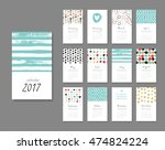 calendar 2017. templates with... | Shutterstock .eps vector #474824224