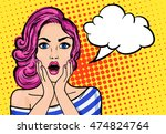 pop art surprised woman with... | Shutterstock . vector #474824764