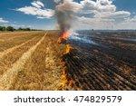 Fire Burns Stubble On The Field ...