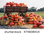 Big Pile Of Pumpkins On Hay In...