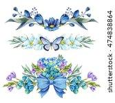 set of blue floral arrangements ... | Shutterstock . vector #474838864