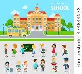 flat set of bus  school ... | Shutterstock .eps vector #474844573