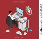 flat isometric businessman... | Shutterstock .eps vector #474844630