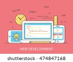 linear flat responsive web... | Shutterstock .eps vector #474847168