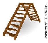 Wooden Step Ladder 3d. Vector...