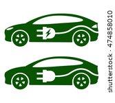 electric car  ev icon. side... | Shutterstock . vector #474858010