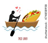 lover taco. man and fastfood... | Shutterstock .eps vector #474858958