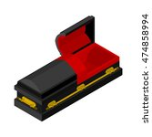 open black coffin isometrics.... | Shutterstock .eps vector #474858994