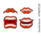 lips set of emotions. shouts... | Shutterstock .eps vector #474859120