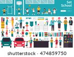 school big collection in flat... | Shutterstock .eps vector #474859750