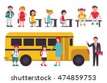 school flat set. isolated on... | Shutterstock .eps vector #474859753