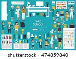 school big collection in flat... | Shutterstock .eps vector #474859840