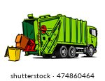 garbage truck illustration | Shutterstock .eps vector #474860464