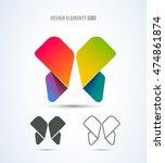 vector butterfly logo. abstract ... | Shutterstock .eps vector #474861874