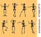 set of dancing skeletons... | Shutterstock .eps vector #474861973