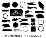 set of hand drawn brushes and... | Shutterstock .eps vector #474862276
