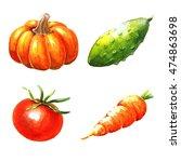 vegetables  watercolor... | Shutterstock . vector #474863698
