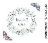 watercolor delicate wreath and... | Shutterstock . vector #474866230