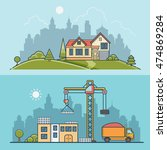 linear flat construction site... | Shutterstock .eps vector #474869284