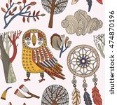 card with owl  autumn trees and ... | Shutterstock .eps vector #474870196