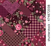 seamless patchwork floral... | Shutterstock .eps vector #474872038