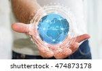 businessman in office using... | Shutterstock . vector #474873178