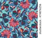vector seamless pattern with ... | Shutterstock .eps vector #474876256