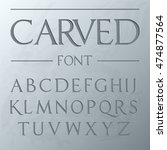 carved font   on the wall   ... | Shutterstock .eps vector #474877564