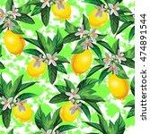 lemon vector pattern with...   Shutterstock .eps vector #474891544