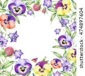 Boarder With Hand Drawn Pansy...