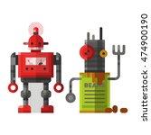 set of cute vintage robots... | Shutterstock .eps vector #474900190