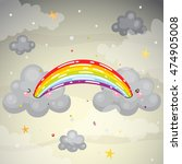 where does the rainbow  cute...   Shutterstock .eps vector #474905008