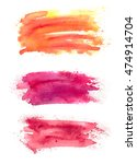 set of abstract watercolor... | Shutterstock . vector #474914704